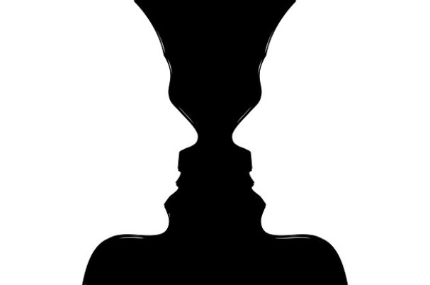 Questions to ask your financial advisor shows image using Gestalt principle with two exact profiles of people facing each other or a vase between them