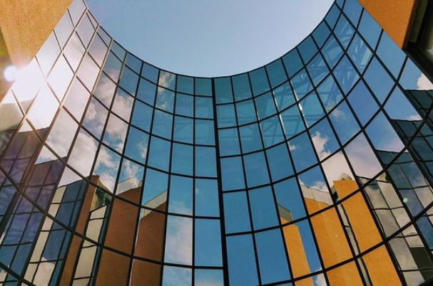 Large Glass Building.