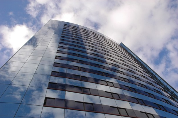 Commercial real estate image shows tall building